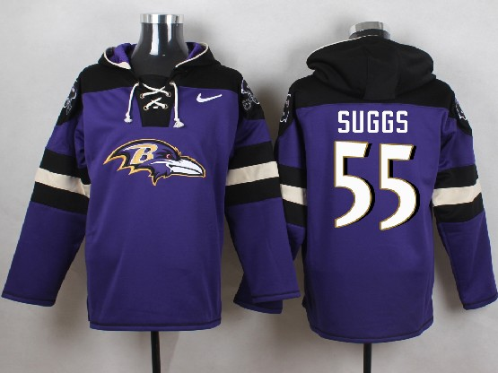 Mens Nfl Baltimore Ravens #55 Terrell Suggs Purple (new Single Color) Hoodie Jersey