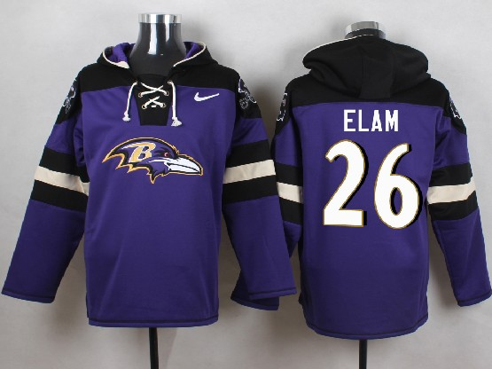 Mens Nfl Baltimore Ravens #26 Matt Elam Purple (new Single Color) Hoodie Jersey
