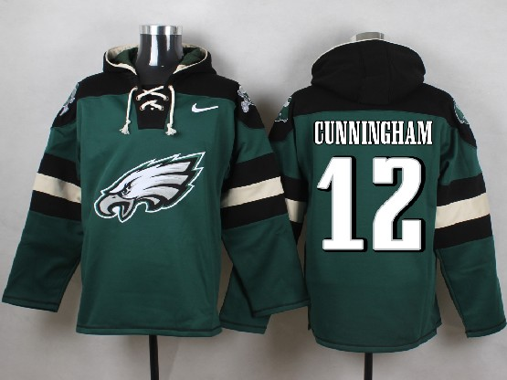 Mens Nfl Philadelphia Eagles #12 Cunningham Green (new Single Color) Hoodie Jersey