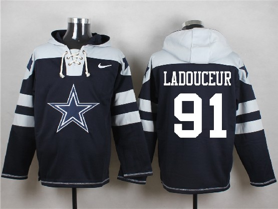 Mens Nfl Dallas Cowboys #91 Ladouceur Blue (new Single Color) Hoodie Jersey