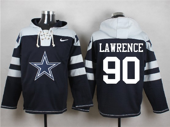 Mens Nfl Dallas Cowboys #90 Lawrence Blue (new Single Color) Hoodie Jersey