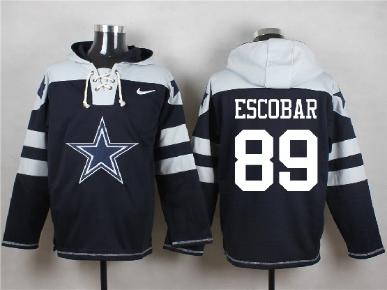 Mens Nfl Dallas Cowboys #89 Escobar Blue (new Single Color) Hoodie Jersey