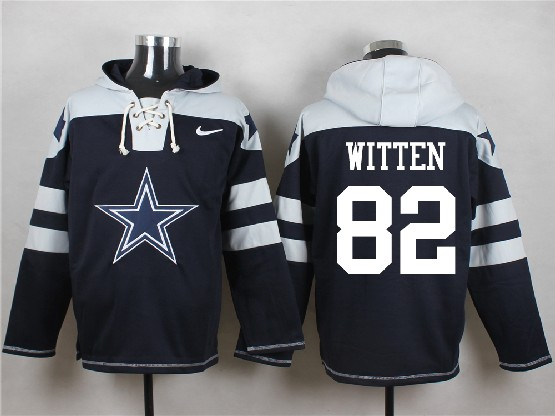 mens nfl Dallas Cowboys #82 Jason Witten blue (new single color) hoodie jersey