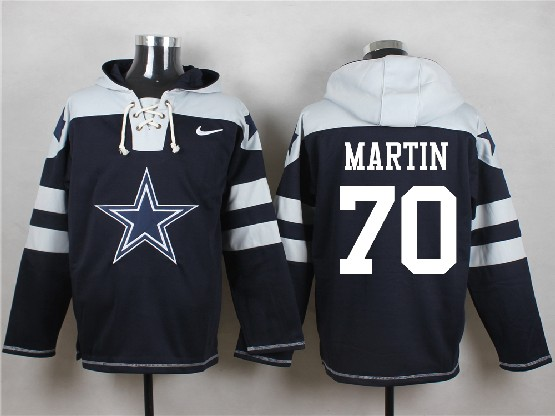 Mens Nfl Dallas Cowboys #70 Martin Blue (new Single Color) Hoodie Jersey