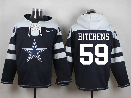 Mens Nfl Dallas Cowboys #59 Hitchens Blue (new Single Color) Hoodie Jersey