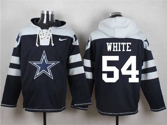 Mens Nfl Dallas Cowboys #54 White Blue (new Single Color) Hoodie Jersey