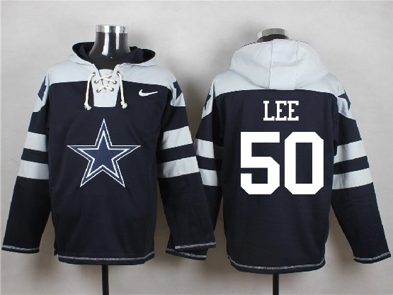Mens Nfl Dallas Cowboys #50 Lee Blue (new Single Color) Hoodie Jersey