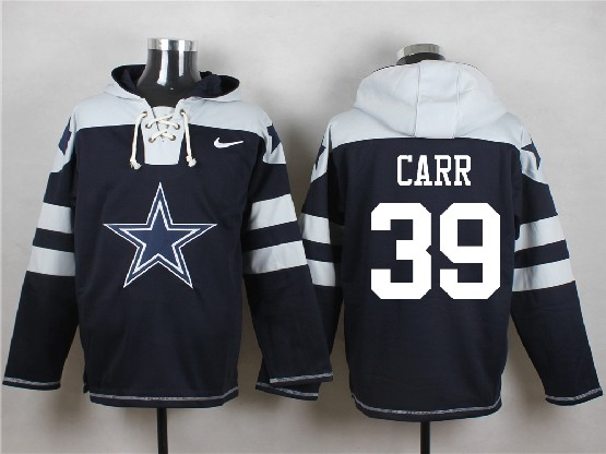 Mens Nfl Dallas Cowboys #39 Carr Blue (new Single Color) Hoodie Jersey