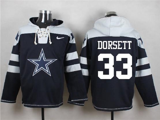 Mens Nfl Dallas Cowboys #33 Dorsett Blue (new Single Color) Hoodie Jersey