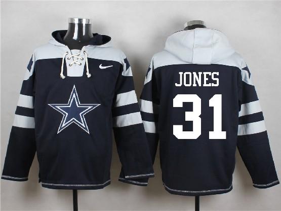 Mens Nfl Dallas Cowboys #31 Jones Blue (new Single Color) Hoodie Jersey