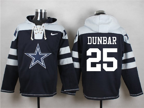 Mens Nfl Dallas Cowboys #25 Dunbar Blue (new Single Color) Hoodie Jersey