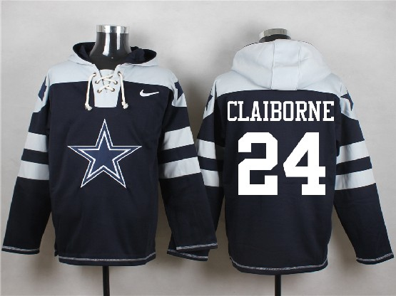 Mens Nfl Dallas Cowboys #24 Claiborne Blue (new Single Color) Hoodie Jersey