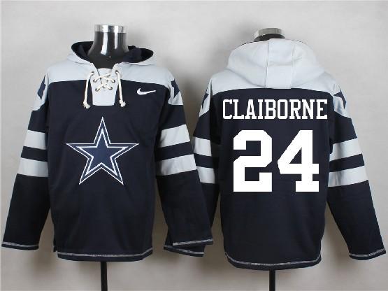 Mens Nfl Dallas Cowboys #24 Claiborne Blue (new Single Color) Hoodie Jersey
