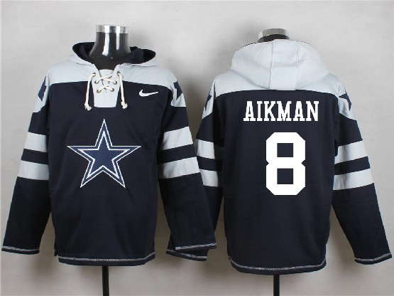 Mens Nfl Dallas Cowboys #8 Aikman Blue (new Single Color) Hoodie Jersey