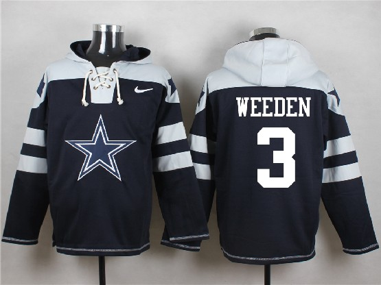 Mens Nfl Dallas Cowboys #3 Weeden Blue (new Single Color) Hoodie Jersey