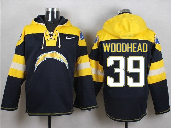 Mens Nfl San Diego Chargers #39 Woodhead Dark Blue (new Single Color) Hoodie Jersey