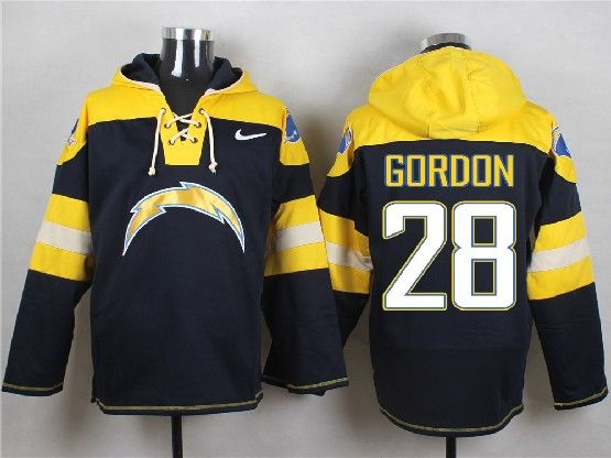 Mens Nfl San Diego Chargers #28 Gordon Dark Blue (new Single Color) Hoodie Jersey
