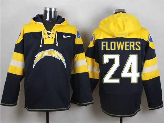 Mens Nfl San Diego Chargers #24 Flowers Dark Blue (new Single Color) Hoodie Jersey