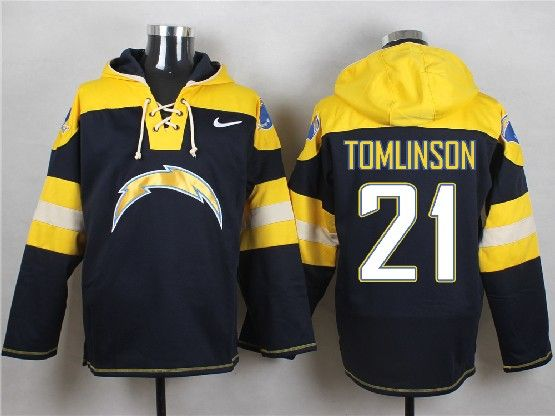 Mens Nfl San Diego Chargers #21 Tomlinson Dark Blue (new Single Color) Hoodie Jersey