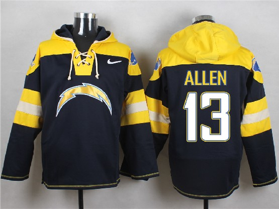 Mens Nfl San Diego Chargers #13 Allen Dark Blue (new Single Color) Hoodie Jersey