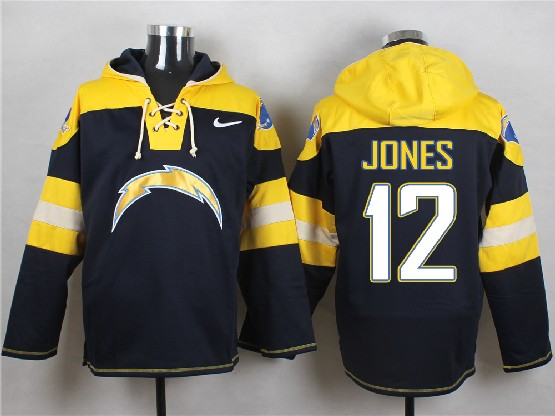 Mens Nfl San Diego Chargers #12 Jones Dark Blue (new Single Color) Hoodie Jersey