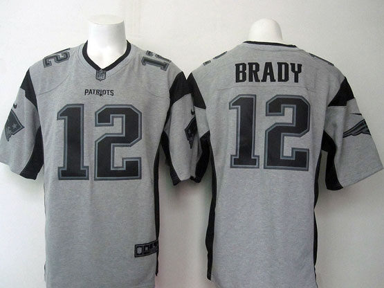 Mens Nfl New England Patriots #12 Brady Gray (black Number) Limited Jersey