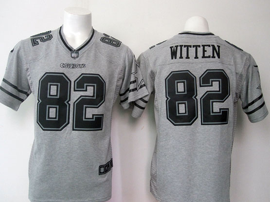 mens nfl Dallas Cowboys #82 Jason Witten gray (black number) limited jersey