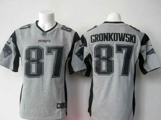 Mens Nfl New England Patriots #87 Gronkowski Gray (black Number) Game Jersey