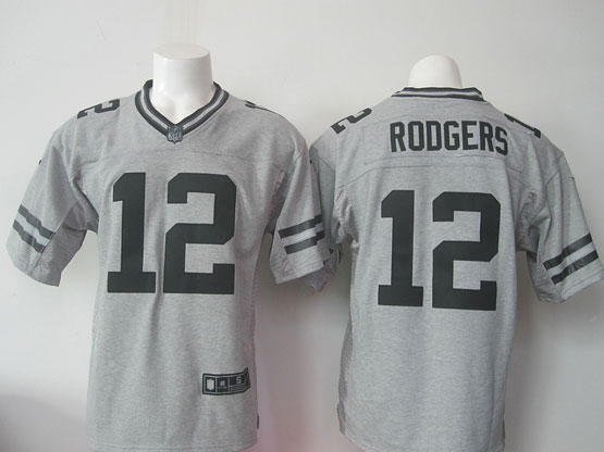 mens nfl Green Bay Packers #12 Aaron Rodgers gray (black number) limited jersey