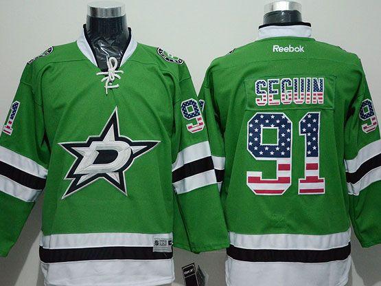 Mens Reebok Nhl Dallas Stars #91 Seguin Green (2014 Usa Flag Fashion) Jersey