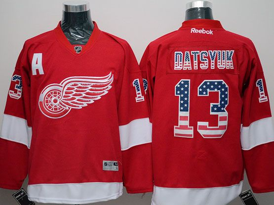 mens reebok nhl Detroit Red Wings #13 Pavel Datsyuk red (usa flag fashion) with a patch jersey