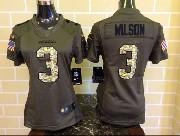 Women  Nfl Seattle Seahawks #3 Wilson Green Salute To Service Limited Jersey