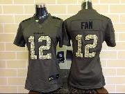 Women  Nfl Seattle Seahawks #12 Fan Green Salute To Service Limited Jersey