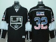 Mens Reebok Nhl Los Angeles Kings #32 Quick Black (usa Flag Fashion) Jersey