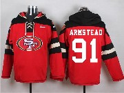 Mens Nfl San Francisco 49ers #91 Armstead Red (new Single Color) Hoodie Jersey