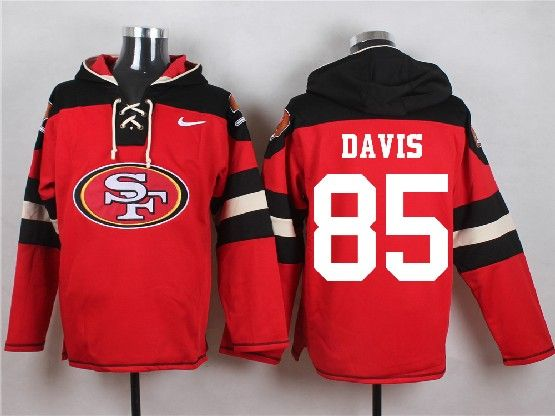 Mens Nfl San Francisco 49ers #85 Davis Red (new Single Color) Hoodie Jersey