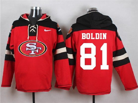 Mens Nfl San Francisco 49ers #81 Boldin Red (new Single Color) Hoodie Jersey