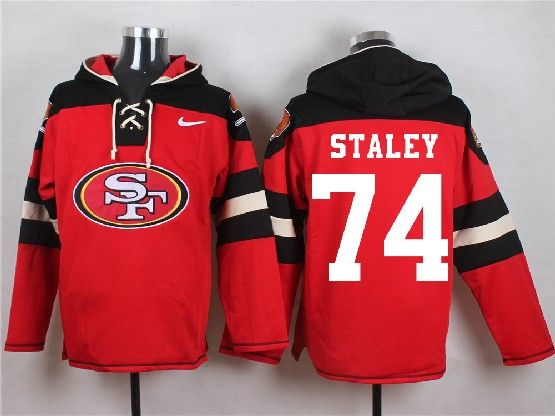 Mens Nfl San Francisco 49ers #74 Staley Red (new Single Color) Hoodie Jersey