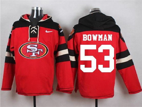 Mens Nfl San Francisco 49ers #53 Bowman Red (new Single Color) Hoodie Jersey