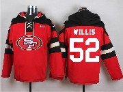 Mens Nfl San Francisco 49ers #52 Willis Red (new Single Color) Hoodie Jersey