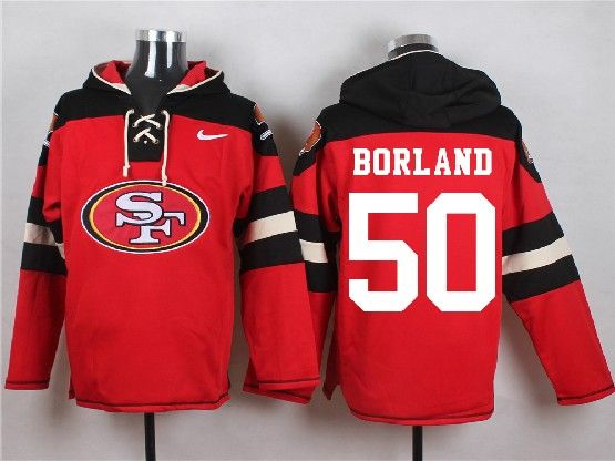 Mens Nfl San Francisco 49ers #50 Borland Red (new Single Color) Hoodie Jersey