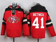 Mens Nfl San Francisco 49ers #41 Bethea Red (new Single Color) Hoodie Jersey