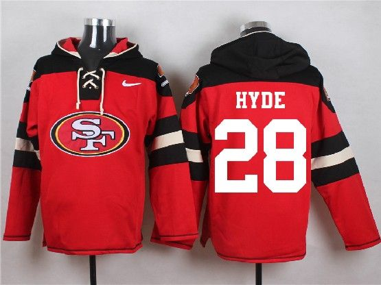 Mens Nfl San Francisco 49ers #28 Hyde Red (new Single Color) Hoodie Jersey