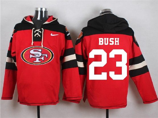 Mens Nfl San Francisco 49ers #23 Bush Red (new Single Color) Hoodie Jersey