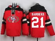 Mens Nfl San Francisco 49ers #21 Sanders Red (new Single Color) Hoodie Jersey