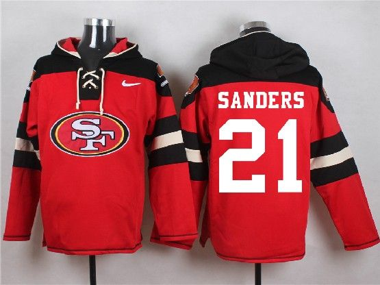 Mens Nfl San Francisco 49ers #21 Sanders Red (new Single Color) Hoodie Jersey