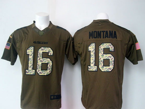 Mens Nfl San Francisco 49ers #16 Montana Green Salute To Service Limited Jersey