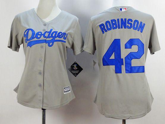 Women  Mlb Los Angeles Dodgers #42 Robinson Gray Jersey