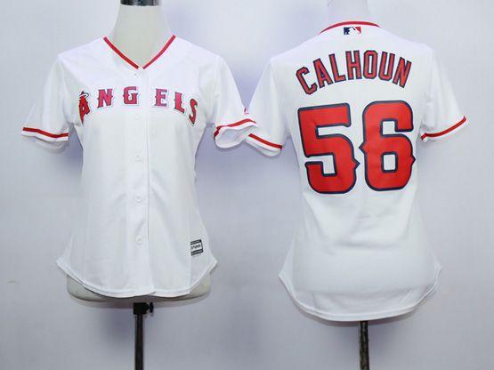 Women  Mlb Los Angeles Angels #56 Calhoun White Jersey