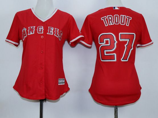 Women  Mlb Los Angeles Angels #27 Trout Red Jersey